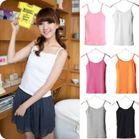 2014 spring and summer 100% all-match cotton short design solid color small vest basic shirt t-shirt female