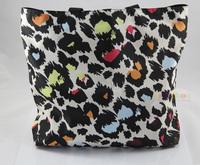 Colorful Leopard Soft Foldable Tote Women's Shopping Bag Shoulder Bag Lady Handbag Pouch Washable Light Weight W Zipper Pocket
