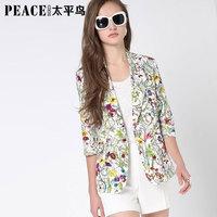 Peacebird women's 2014 spring print all-match blazer formal one button ol outerwear