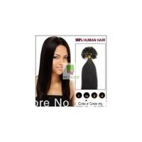 16 inch U-Nail tip 1B natural black hair extensions-100strands