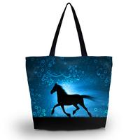 Horse Soft Foldable Tote Women's Shopping Bag Shoulder Bag Lady Handbag Pouch Washable light Weight W Zipper Closure Pocket
