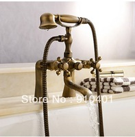 Free Shipping Wholesale And Retail Promotion Deck Mounted Antique Brass Bathroom Tub Faucet Dual Handles Mixer Tap 2 Handles