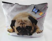 Cute Pug Soft Foldable Tote Women's Shopping Bag Shoulder Bag Lady Handbag Pouch Washable light Weight W Zipper Closure Pocket