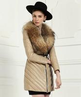 2014 Women's large Raccoon Dog fur collar Down Coat medium-long female Genuine leather sheepskin clothing outerwear Coat