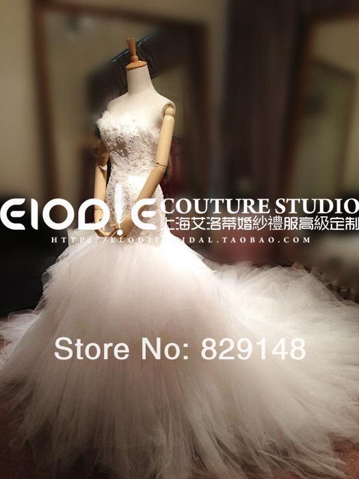 2014 Elie Saab Couture Real fotos do marfim branco sereia baguetes Lace lindo vestidos de casamento noivas vestidos vestido de casamento de comboios()