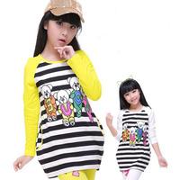 New Spring Girls Slim 100% T-shirt Cotton Long-sleeve Tees Stripe Girls Top Clothing Children Fashion T Shirt