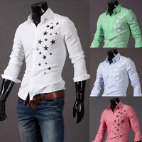 2014 New Hot sale Casual star print slim fit long sleeve dress shirts M/L/XL/XXL Wholesale PA30
