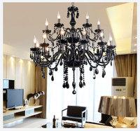 18 Lights Luxury black crystal Chandelier lighting lamp candle crystal chandelier lamp brief fashion living room lamps lighting
