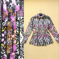 2014 High Quality Women's Designer Charming Vintage Print New Fashion Long-sleeve Novelty Silk Blouse