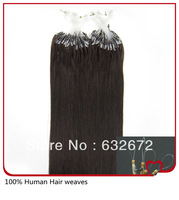 Wholesale cheap indian straight micro loop hair extensions indian virgin hair #1 Jet Black 0.5g/s 18  22 24 26inch Free Shipping