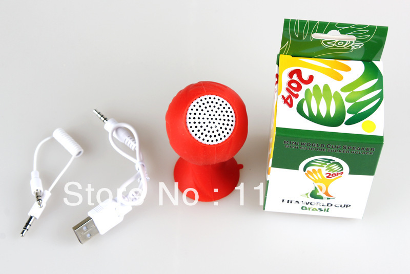 DHL free retail box Mini Portable Speaker Sucker Holder Stand 2014 World Cup Football for MP3 MP4 iphone ipad Mobile Tablet MID(China (Mainland))