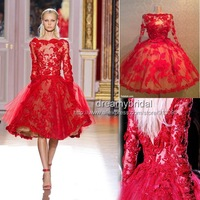 2014 Real samples High Quality Women Zuhair Murad Red Lace Short Prom Dresses evening dress with long Sleeves Free Shipping