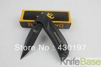 Browning Folding knife 338 small Falcons (black) 440C 57HRC steel + aluminum + wood handle pocket knife  5pcs/lot wholesale