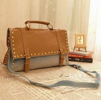 2013 rivet denim bags women's handbag shoulder bag messenger bag