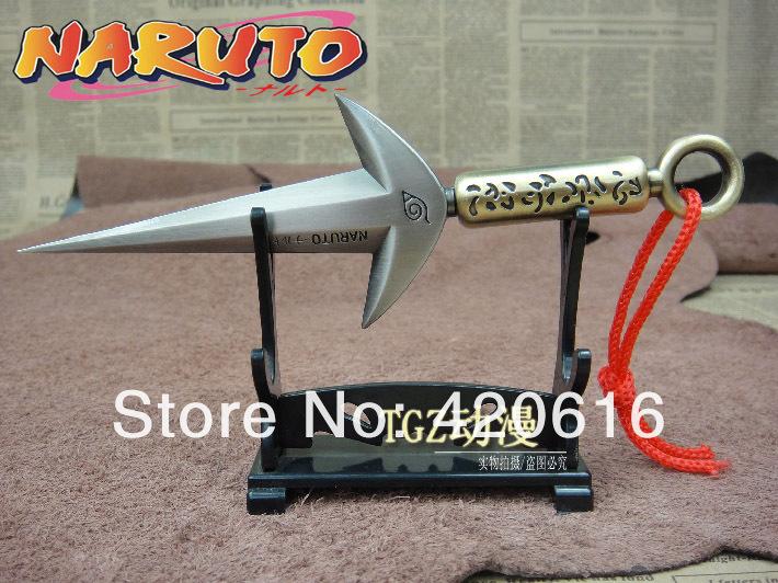 Naruto Hokage Yondaime Namikaze Minato Kunai faca com capa de couro + prateleira(China (Mainland))