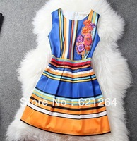 Runway Summer Vintage Women's Sleeveless Fancy Floral Embroidery Striped Print Dress
