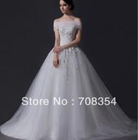 2014 New Arrival High-Grade Vintage Elegant Detachable Yarn Collar Long Trailing Wedding Dress