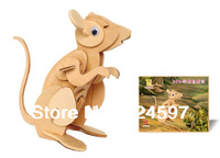 New Promotion Chinese Zodiac Rat homdecor Gift popular handmade decoration 3D DIY wooden  puzzle mouse toys WJ0001 Wholesale