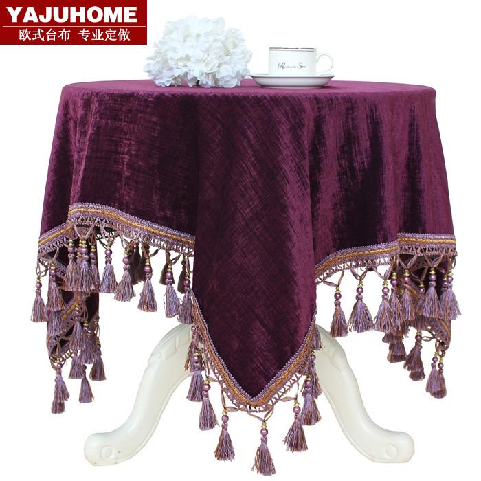 Fashion luxury purple quality rustic coffee table cloth western table cloth round table cloth fabric round tablecloth table(China (Mainland))