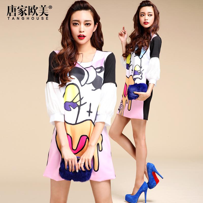 Vestido Dobby Vestido De Festa Ankle-length Lycra Casual 2014 Spring New Arrival Female Sweet Donald Duck Print One-piece Dress(China (Mainland))