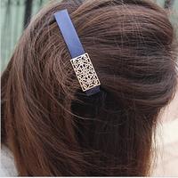 Hollow metal box retro hair clips / bangs clip women fashion hair accessories
