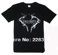 New Free Shipping Quality Black Cotton Short Sleeve T-Shirts Call Of Duty  7 Ghosts Black OPS ---Loveful