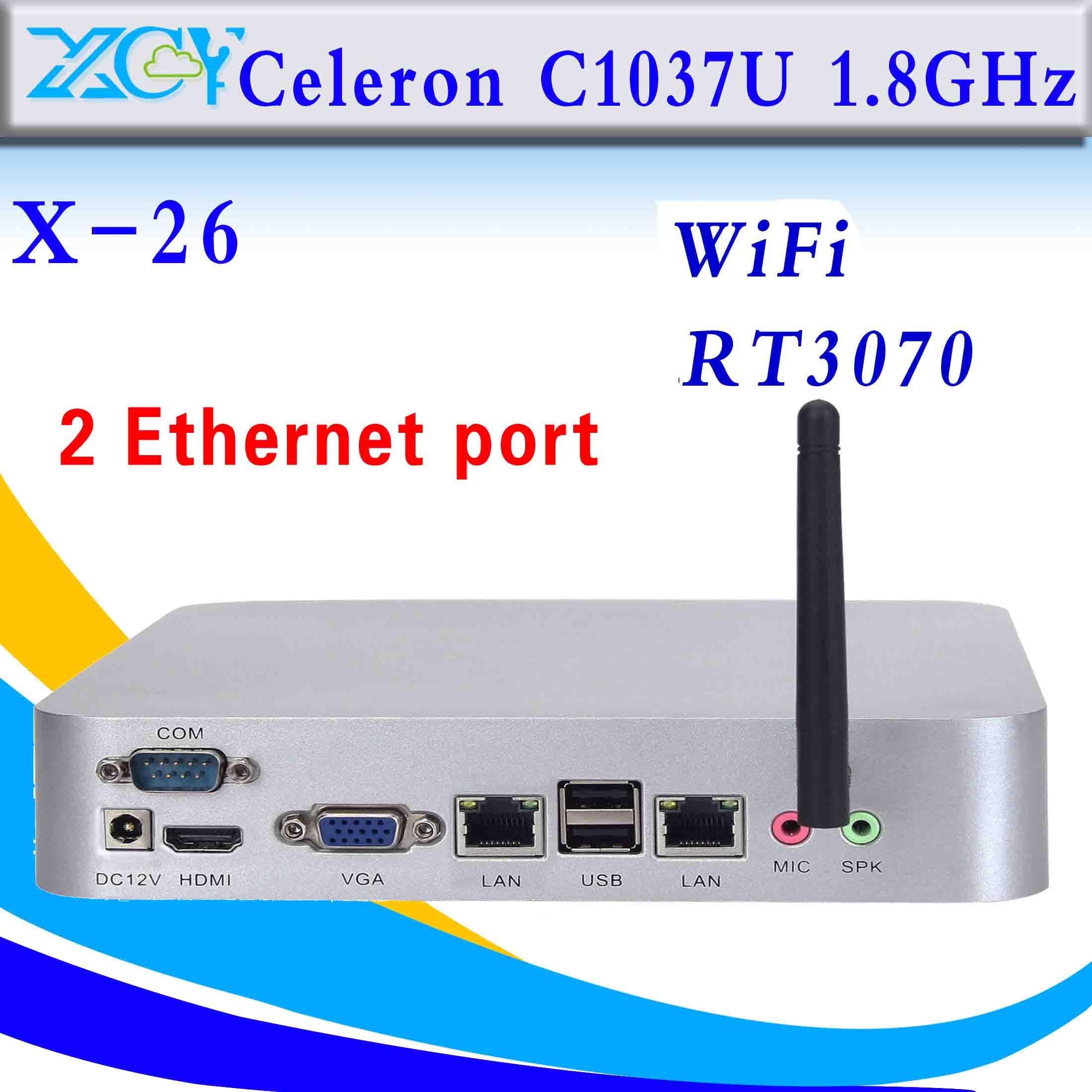 Intel mini pc Celeron computer 2 RJ-45 thin client support WIN7, Linux, Windows XP, Windows 2003, Ubuntu Debian(China (Mainland))
