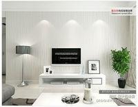 56 Sqf 10M Roll Modern Simple Style Silver Grey Strips Striped Lines Flocking Wallpaper Livingroom/Bedroom