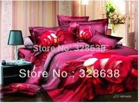 Hot!Reactive printed 3d bed set 3d bedding set linen cotton queen king size/bedclothes duvet cover red white rose coverlet 800TC