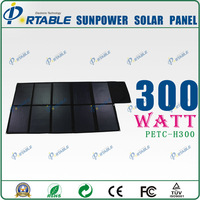 unique biggest power output 300W Sunpower PET laminated  folding solar panel charger for big battery/home/boat/bicycle/car