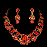 Chinese  Red  Wedding  Jewelry  Flower  Water Drop  Crystal  Rhinestone Necklace Earring  Set