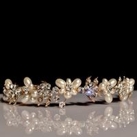 New 2014 Handmade Bride Golden Crystal Pearl Hairband Luxury Rhinestone Bridal Tiara Headband Wedding Hair Accessories WIGO0237