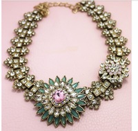 Newest, Free Shipping 2013 New Fashion Necklace Gorgeous Party Chokers Necklace flower Statement Necklace