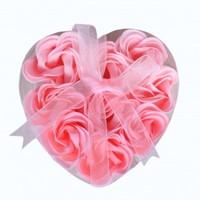 2014 New best gift for lover  love shape pack rose flower soap bath flower 24pieces /set