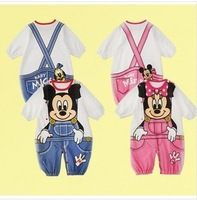 free shipping 3pc/lot2014 Mickey/Minnie Baby Rompers Boy Girl Cartoon Oneside Cotton Jumpsuit  infant rompers baby suits