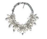 2014 Crew Flower Hot Sale Six Colors Seven Party Necklace Teardrop Bib Rose Flowers Necklace With Crystal For Women