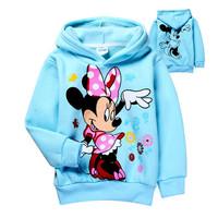 Retail 2014 Autumn baby girls Minnie Mouse Fleece hoodies,Children outerwear,Kids Cartoon Clothes/Sweatshirt/ Winter Coat