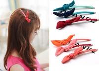 Rabbit ears bow hair clips card issuing word folder bangs clip women fashion hair accessories