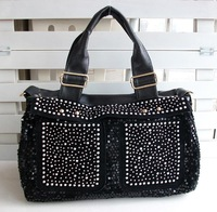 Free shipping diamond bag black fashion shoulder bag  medium-large bags