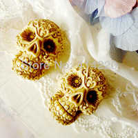 New Arrival Freeshipping 30*40*19mm Resin 3-D skull Cameos For Necklace Pendant  Wholesale by 30PCS/LOT