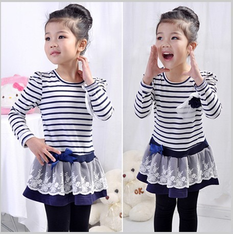 2014 girls striped dresses girl's stripe princess navyblue brown white flower top clothes tops clothing Corsage free shipping(China (Mainland))