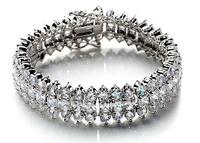 Italina Luxury design women/girls/bride AAA zircon three chains 18k real platinum plated Bracelet  WL0619