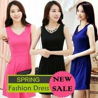 2014 new arrived women's dress/european fashion show dress women summer pleated short design sundress dress/M~XXL 11 Colors/WOW