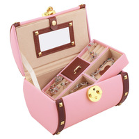 BEAUTIFUL TWO COLORS LEATHER JEWELRY BOX With TRAVEL CASE & LOCK Jewelry Case Storage Box Watch Box Cosmetic Case