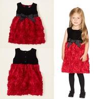 new 2014 casual rose flower girls princess dress kids sudress children dresses