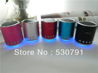 20PCS Mini Speaker support Micro SD card and USB Flash memory  with the led light and  Portable Aluminum body  5 colors (MA02)