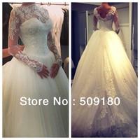 2014 High quality customized long sleeve floor length high neck V back wedding dress design PX001 Wedding dress