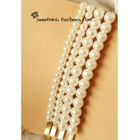 Simple hand-pearl hair clips word folder / side folder / Liu folder / card issuing hair accessories women fashion