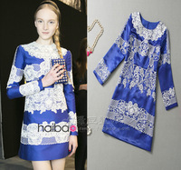 2013 fashion v vintage embroidery flower blue long-sleeve dress
