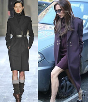 Elegant queen 2013 epaulette slim woolen overcoat outerwear trench female
